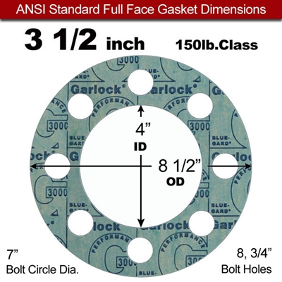 "Garlock 3000 NBR Full Face Gasket - 150 Lb. - 1/8"" Thick - 3-1/2"" Pipe"