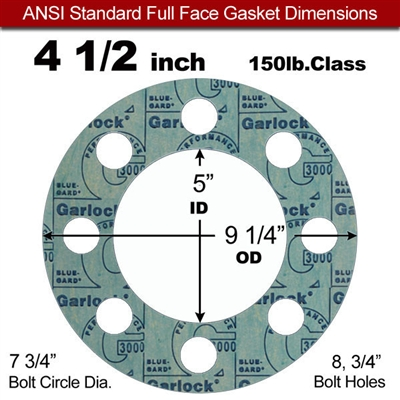 "Garlock 3000 NBR Full Face Gasket - 150 Lb. - 1/8"" Thick - 4-1/2"" Pipe"