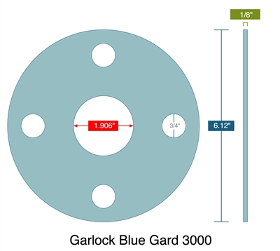 "Garlock 3000 NBR Full Face Gasket - 300 Lb. - 1/8"" Thick - 1-1/2"" Pipe"