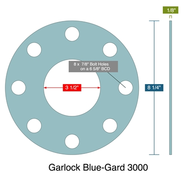 "Garlock 3000 NBR Full Face Gasket - 300 Lb. - 1/8"" Thick - 3"" Pipe"