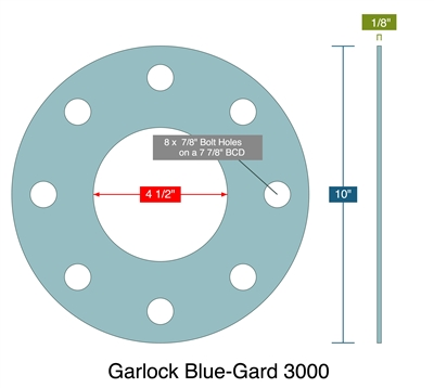 "Garlock 3000 NBR Full Face Gasket - 300 Lb. - 1/8"" Thick - 4"" Pipe"