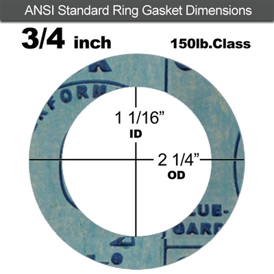 "Garlock 3000 NBR Ring Gasket - 150 Lb. - 1/16"" Thick - 3/4"" Pipe"
