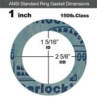 "Garlock 3000 NBR Ring Gasket - 150 Lb. - 1/16"" Thick - 1"" Pipe"