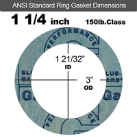 "Garlock 3000 NBR Ring Gasket - 150 Lb. - 1/16"" Thick - 1-1/4"" Pipe"