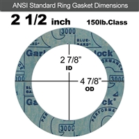 "Garlock 3000 NBR Ring Gasket - 150 Lb. - 1/16"" Thick - 2-1/2"" Pipe"