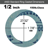 "Garlock 3000 NBR Ring Gasket - 150 Lb. - 1/8"" Thick - 1/2"" Pipe"