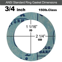 "Garlock 3000 NBR Ring Gasket - 150 Lb. - 1/8"" Thick - 3/4"" Pipe"