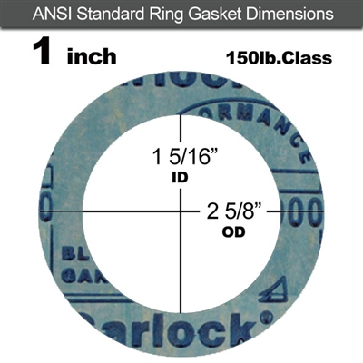 "Garlock 3000 NBR Ring Gasket - 150 Lb. - 1/8"" Thick - 1"" Pipe"