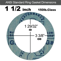 "Garlock 3000 NBR Ring Gasket - 150 Lb. - 1/8"" Thick - 1-1/2"" Pipe"