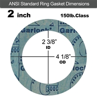 "Garlock 3000 NBR Ring Gasket - 150 Lb. - 1/8"" Thick - 2"" Pipe"