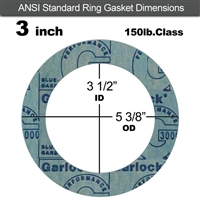 "Garlock 3000 NBR Ring Gasket - 150 Lb. - 1/8"" Thick - 3"" Pipe"