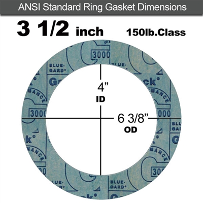 "Garlock 3000 NBR Ring Gasket - 150 Lb. - 1/8"" Thick - 3-1/2"" Pipe"