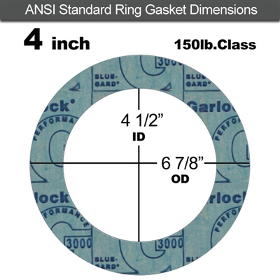 "Garlock 3000 NBR Ring Gasket - 150 Lb. - 1/8"" Thick - 4"" Pipe"