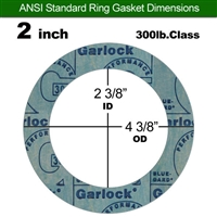 "Garlock 3000 NBR Ring Gasket - 300 Lb. - 1/16"" Thick - 2"" Pipe"