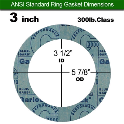 "Garlock 3000 NBR Ring Gasket - 300 Lb. - 1/16"" Thick - 3"" Pipe"