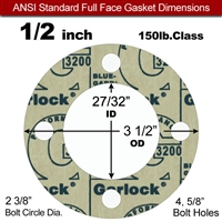 "Garlock 3200 SBR Full Face Gasket - 150 Lb. - 1/8"" Thick - 1/2"" Pipe"