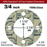 "Garlock 3200 SBR Full Face Gasket - 150 Lb. - 1/8"" Thick - 3/4"" Pipe"