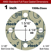 "Garlock 3200 SBR Full Face Gasket - 150 Lb. - 1/8"" Thick - 1"" Pipe"