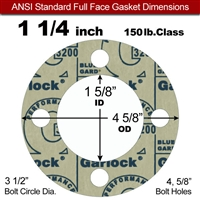 "Garlock 3200 SBR Full Face Gasket - 150 Lb. - 1/8"" Thick - 1-1/4"" Pipe"