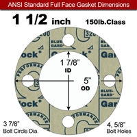 "Garlock 3200 SBR Full Face Gasket - 150 Lb. - 1/8"" Thick - 1-1/2"" Pipe"