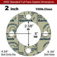 "Garlock 3200 SBR Full Face Gasket - 150 Lb. - 1/8"" Thick - 2"" Pipe"