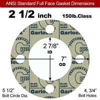 "Garlock 3200 SBR Full Face Gasket - 150 Lb. - 1/8"" Thick - 2-1/2"" Pipe"