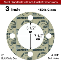 "Garlock 3200 SBR Full Face Gasket - 150 Lb. - 1/8"" Thick - 3"" Pipe"
