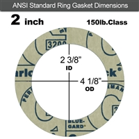 "Garlock 3200 SBR Ring Gasket - 150 Lb. - 1/16"" Thick - 2"" Pipe"