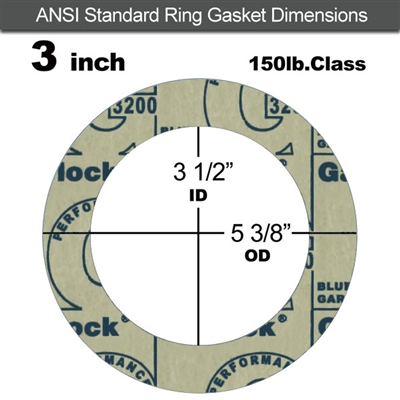 "Garlock 3200 SBR Ring Gasket - 150 Lb. - 1/16"" Thick - 3"" Pipe"