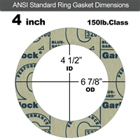 "Garlock 3200 SBR Ring Gasket - 150 Lb. - 1/16"" Thick - 4"" Pipe"