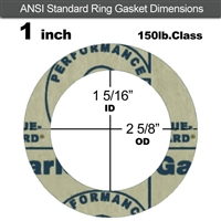 "Garlock 3200 SBR Ring Gasket - 150 Lb. - 1/8"" Thick - 1"" Pipe"