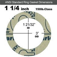 "Garlock 3200 SBR Ring Gasket - 150 Lb. - 1/8"" Thick - 1-1/4"" Pipe"