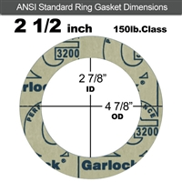 "Garlock 3200 SBR Ring Gasket - 150 Lb. - 1/8"" Thick - 2-1/2"" Pipe"