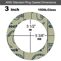 "Garlock 3200 SBR Ring Gasket - 150 Lb. - 1/8"" Thick - 3"" Pipe"