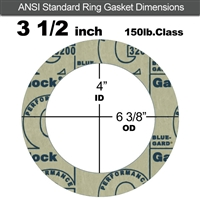 "Garlock 3200 SBR Ring Gasket - 150 Lb. - 1/8"" Thick - 3-1/2"" Pipe"
