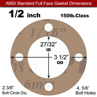 "Garlock 3500 Fawn Gylon® Full Face Gasket - 150 Lb. - 1/16"" Thick - 1/2"" Pipe"