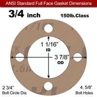 "Garlock 3500 Fawn Gylon® Full Face Gasket - 150 Lb. - 1/16"" Thick - 3/4"" Pipe"