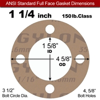"Garlock 3500 Fawn Gylon® Full Face Gasket - 150 Lb. - 1/16"" Thick - 1-1/4"" Pipe"