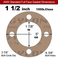 "Garlock 3500 Fawn Gylon® Full Face Gasket - 150 Lb. - 1/16"" Thick - 1-1/2"" Pipe"