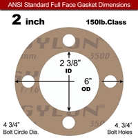 "Garlock 3500 Fawn Gylon® Full Face Gasket - 150 Lb. - 1/16"" Thick - 2"" Pipe"