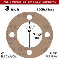 "Garlock 3500 Fawn Gylon® Full Face Gasket - 150 Lb. - 1/16"" Thick - 3"" Pipe"