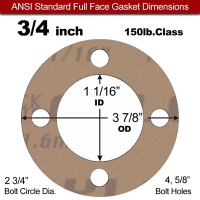 "Garlock 3500 Fawn Gylon® Full Face Gasket - 150 Lb. - 1/8"" Thick - 3/4"" Pipe"