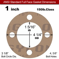 "Garlock 3500 Fawn Gylon® Full Face Gasket - 150 Lb. - 1/8"" Thick - 1"" Pipe"