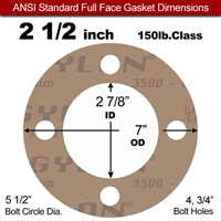 "Garlock 3500 Fawn Gylon® Full Face Gasket - 150 Lb. - 1/8"" Thick - 2-1/2"" Pipe"