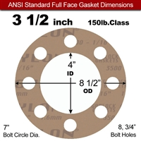 "Garlock 3500 Fawn Gylon® Full Face Gasket - 150 Lb. - 1/8"" Thick - 3-1/2"" Pipe"
