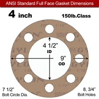 "Garlock 3500 Fawn Gylon® Full Face Gasket - 150 Lb. - 1/8"" Thick - 4"" Pipe"