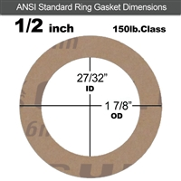 "Garlock 3500 Fawn Gylon® Ring Gasket - 150 Lb. - 1/8"" Thick - 1/2"" Pipe"