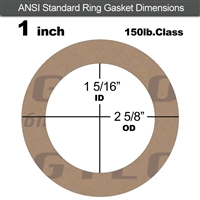"Garlock 3500 Fawn Gylon® Ring Gasket - 150 Lb. - 1/8"" Thick - 1"" Pipe"