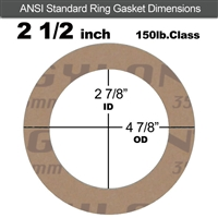 "Garlock 3500 Fawn Gylon® Ring Gasket - 150 Lb. - 1/8"" Thick - 2-1/2"" Pipe"