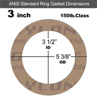 "Garlock 3500 Fawn Gylon® Ring Gasket - 150 Lb. - 1/8"" Thick - 3"" Pipe"
